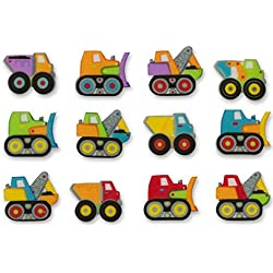 Bundleofbeauty Gh5510a 12pack Edible Sugar Shaped Construction Truck Cake / Cupcake Toppers