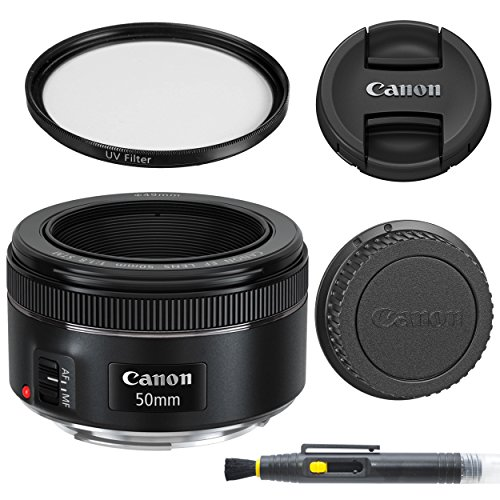 Canon EF 50mm f/1.8 STM: Lens with Glass UV Filter, Front and Rear Lens Caps, and Deluxe Cleaning Pen, Lens Accessory Bundle50 mm f1.8– International Version