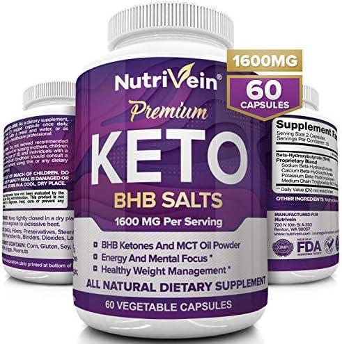Nutrivein Keto Diet Pills 1600mg - Advanced Ketogenic Diet Supplement - BHB Salts Exogenous Ketones Capsules - Effective Ketosis Best Keto Diet, Mental Focus and Energy, 60 Capsules 3