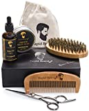 Beard Grooming & Trimming Kit for Men Care - Beard Brush, Beard Comb, Unscented Beard Oil Leave in Conditioner, Mustache & Beard Balm Butter Wax, Barber Scissors for Styling, Shaping & Growth Gift set