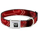 "Buckle-Down Seatbelt Buckle Dog Collar - Neon Superman Logo Black/Red - 1"" Wide - Fits 11-17"" Neck - Medium"