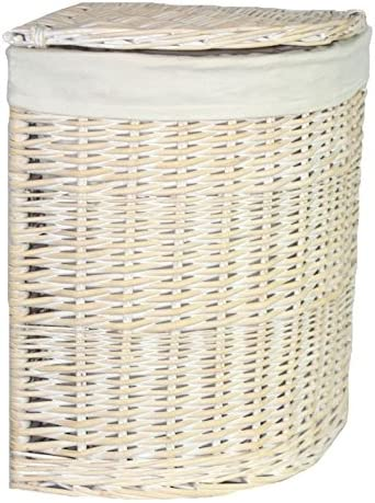 Red Hamper Wicker Willow Small Corner White Wash Laundry Basket With A White Lining Amazon Co Uk Kitchen Home
