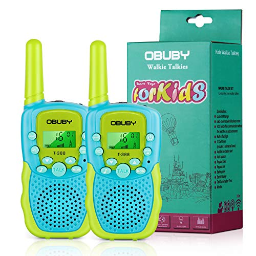 Obuby Walkie Talkies for Kids, 22 Channels 2 Way Radio Kid Toy Gift 3 Miles Long Range with Backlit LCD Flashlight Best Gifts for Boys and Girls to Outside Adventure, Camping 2 Pack (Blue& Green)