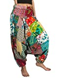 Tribe Azure 100% Cotton Harem Pants Colorful Summer Hippie Yoga Boho Casual Fashion Women (Large)