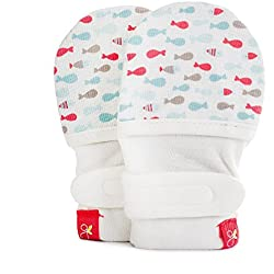 Goumikids - Goumimitts, Scratch Free Baby Mittens, Organic Soft Stay On Unisex Mittens, Stops Scratches and Prevents Germs - (School of Fish - Aqua, 3-6 Months)