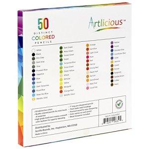 Artlicious – 50 Premium Distinct Colored Pencils for Adult Coloring Books – Bonus Sharpener – Color Names on Pencils