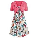 2019 New Dresses,Chaofanjiancai Women's Summer Short Sleeve Front Criss Cross Top & Floral Print Mini Dress Suits