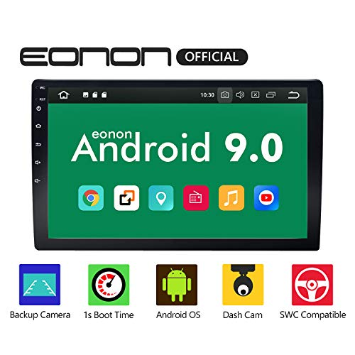 Double Din Car Stereo with Bluetooth 5.0, Android 9.0 Car Android Auto Radio Eonon 10.1 Inch Head Unit,Support Backup Rear View Camera Steering Wheel Remote Control Mirror Link WiFi Connection-GA2178