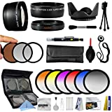 25 Piece Advanced Lens Package For The Sony Alpha NEX-6 NEX-7 NEX-3N NEX-5T NEX-5R Mirrorless Digital Cameras Includes 0.43X HD2 Wide Angle Panoramic Macro Fisheye Lens + 2.2x HD AF Telephoto Lens + 3 Piece Pro Filter Kit (UV, CPL, FLD) + 6 Piece Multi-Colored Graduated Filter Set + 5 PC Close-Up Set (+1, +2,+4 with 10X Macro Lens) + Flower Lens Hood + Deluxe Lens Cleaning Kit + 5PC Lens Cleaning Pen + Snap On Lens Cap + Air Blower Cleaner + Lens Cap Keeper Holder + LCD Screen Protectors + Mini