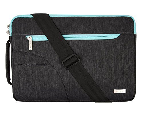 MOSISO Laptop Shoulder Bag Only Compatible MacBook 12-Inch A1534 with Retina Display 2017/2016/2015 Release, Polyester Ultraportable Briefcase Carrying Handbag Sleeve Case Cover, Black & Hot Blue