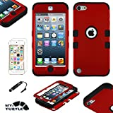 MYTURTLE Shockproof Hybrid Case Hard Silicone Shell High Impact Cover with Stylus Pen and Screen Protector for iPod Touch 5th 6th Generation, Titanium Red Black