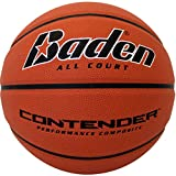 Baden Contender Official Wide Channel Basketball, Natural Orange Color, 29.5-Inch