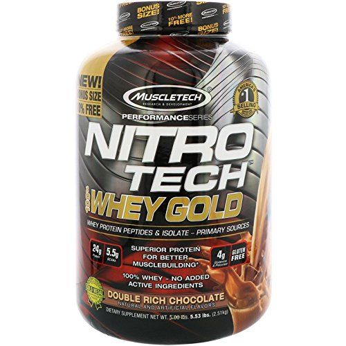 Muscletech Nitro Tech 100% Whey Gold, Double Rich Chocolate, 5.53 lbs (2.51 kg) MSC-71049