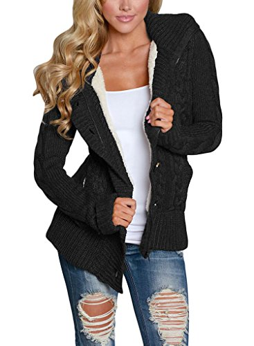 51CF6f1e3rL Sidefeel gorgeous cable knit sweater coat will keep you warm in the cold winter Our knit cardigans are made of fine quality,comfortable to wear This Long Sleeve Hooded Sweater Coat Designed with two pockets