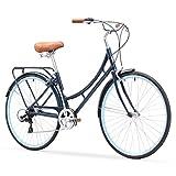 sixthreezero Ride In The Park Women's 7-Speed Touring City Bike, 700x32c Wheels, Navy Blue, 17'/One Size