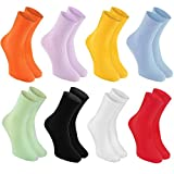8 pairs of DIABETIC Non-Elastic Cotton Socks for SWOLLEN FEET, Colorful Mix XS