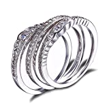 JewelryPalace Women's CZ Stackable Wedding Band Engagement Ring 925 Sterling Silver Size 7