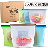 Reusable Eco Silicone Food | Storage Bulk Bags Size Ziplock Plastic Containers | Cooking Bag Sets for Sous Vide Liquid Snack Lunch Freezer Microwave 6 silicon storage bags for Fruits Vegetables Set