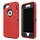 Annymall Case Compatible for iPhone 8 & iPhone 7, Heavy Duty [with Kickstand] [Built-in Screen Protector] Tough 4 in1 Rugged Shorkproof Cover for Apple iPhone 7 / iPhone 8 (Red)