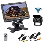 "Camecho RC 12V 24V Car Backup Camera Rear View Wireless IR Night Vision Backup Camera Waterproof Kit + 7"" TFT LCD Monitor Parking Assistance System For Truck / Van / Caravan / Trailers / Camper"