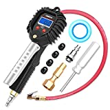 GOOLOO Upgraded Digital Tire Pressure Gauge, Heavy Duty 255 PSI Tire Inflator and Compressor Accessories with Leakproof Air Chuck, Quick Connect Plug, 0.1 Display Resolution for Car Truck Motorcycle