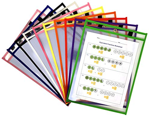 Dry Erase Pockets - Clear + Reusable Page Protectors Ideal for Office and Classroom Organization - Oversized 9 x 12 inch - 10 Pack Assorted Colors with Metal Eyelet + 2 Different Sized Marker Holders