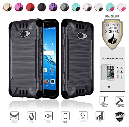 MYFAVCELL for Huawei Ascend XT2 Case with Full Glass Screen Protector (2nd Version Only), Elate 4G Case, H1711 Case, Metallic Brushed Design Slim Hybrid [Shockproof] Armor Defender Case Cover (Black)
