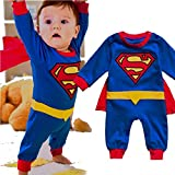 Baby Superhero Jumpsuit With Removable Cape (18-24 Months, Superman 1)