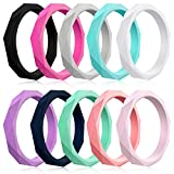 Mokani [10 Pack Silicone Wedding Ring for Women, Thin Diamond Rubber Band, Fashion, Colorful, Comfortable fit, Skin Safe,Size 7