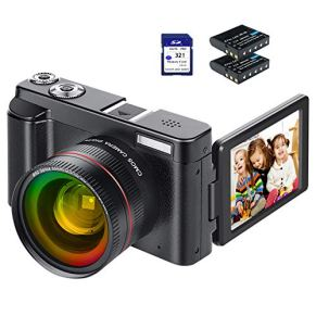 Video Camera Camcorder, FHD 1080P 30FPS 24MP Camcorders YouTube Vlogging Camera 16X Digital Zoom 3.0 Inch 270 Degree…