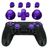 Jadebones Metal Thumbsticks Thumb Grip + Bullet Buttons + D-pad Replacements Kits for Sony PS4/ DualShock 4/PS4 Slim/PS4 Pro Controller (Purple)