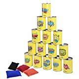 iBaseToy Party Games for Kids & Adults, Garden Games Tin Can Alley, Carnival Games Bean Bag Toss Game for Birthday Party-15 Tin Cans and 4 Beanbags Included