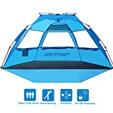 WhiteFang Beach Tent, Pop Up Instant Family Tent with UPF 50 Sun Protection,3-4 Person Automatic & Windproof Sun Shelter Cabana with Carrying Bag, Stakes,Sandbag for Beach (Blue)