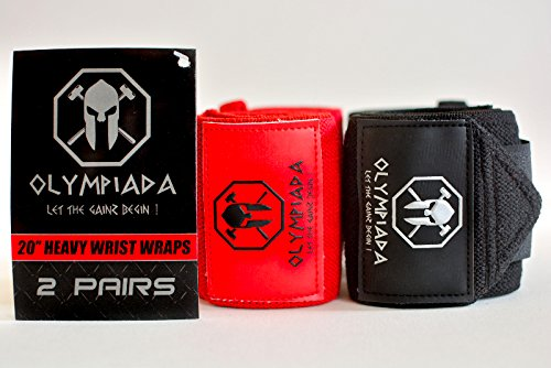 20' Olympiada Wrist Wraps - 2018 Design (Extra Stiff -4 Wraps/2 Pairs) - Specially Designed for Powerlifting, Bodybuilding & Aesthetics! Highest Quality & Strongest Wraps on Amazon + Swag