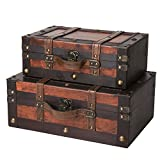 SLPR Crawford Wooden Trunk with Straps (Set of 2, Wine Color) | Old-Fashioned Antique Vintage Style Nesting Trunks for Shelf Home Decor Birthday Parties Wedding Decoration Displays Crafts