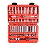TEKTON 3/8-Inch Drive 6-Point Socket & Ratchet Set, Inch/Metric, 5/16-Inch - 3/4-Inch, 8 mm - 19 mm, 47-Piece (Case) | SKT15301