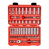 TEKTON 3/8-Inch Drive 6-Point Socket & Ratchet Set, Inch/Metric, 5/16-Inch - 3/4-Inch, 8 mm - 19 mm, 47-Piece (Case) | SKT15301