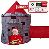 Red Knights Castle Tent with Crawling Tunnel and Carry Case - Portable Foldable pop up Knights Castle Playhouse for indoor/outdoor Kids fun activities - Great Birthday Gift for Girl or Boy- Play Kreat