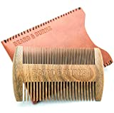 Two-Sided Wooden Beard Comb by Beard and Burns - Double Sides of Different Teeth Widths - Hand-Made...