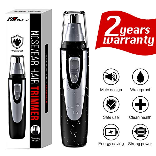 Ear and Nose Hair Trimmer Clipper - 2019 Professional Painless Eyebrow and Facial Hair Trimmer for Men and Women, Battery-Operated, IPX7 Waterproof Dual Edge Blades for Easy Cleansing (black)