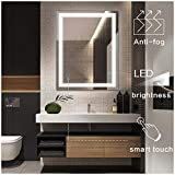 Keonjinn 20 x 28 Inch Anti-Fog Horizontal/Vertiacl Dimmable LED Bathroom Vanity Mirror Large Wall Makeup Mirror with Light