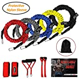 Resistance Bands, 15 Pieces Exercise Elastic Bands Set, 20lbs to 40lbs Resistance Tubes with Heavy Duty Protective Nylon Sleeves Anti-Snap for Fitness-5 Bands Door Anchors Ankle Strap Handles Bag