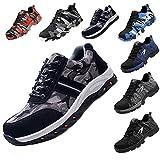 JACKSHIBO Steel Toe Work Shoes for Men Women Safety Shoes Breathable Industrial Construction Shoes Camouflage Black 12 M Women/10.5 M Men