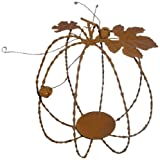 Craft Outlet 9 by 10-Inch Rustic Tin Pumpkin Figurine, Large