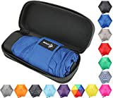 Travel Umbrella with Waterproof Case - Small, Compact Umbrella for Backpacks, Purses, Briefcases or Cars - Versatile, Unisex Design - Made with Water-Resistant Pongee Fabric - Premium Quality - Blue