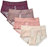 Amazon Essentials Women's 4-Pack Lace Stretch Hipster Panty, Warm, L