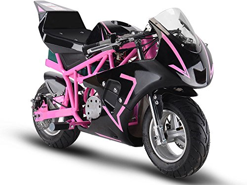 MotoTec 36v 500w Electric Pocket Bike GP Version, THREE large 12v batteries, Pink
