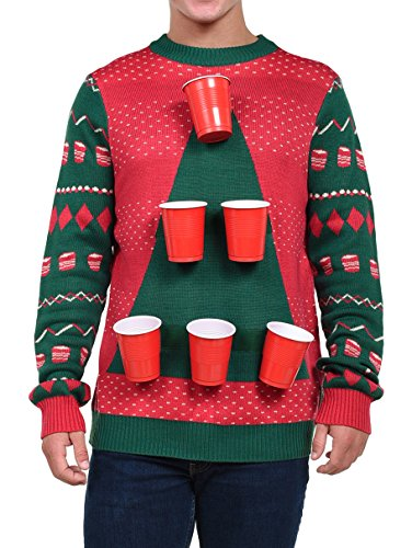 Tipsy Elves Men's Beer Pong Game Christmas Sweater - Funny Ugly Christmas Sweater