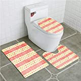 Bathroom Mat Sets 4 Piece-Non-Slip - Short Plush Abstract Retro Stripes and Dots in Watercolor Featured Effects Nostalgic Pattern Bathroom Rug + Contour pad + lid Toilet seat+Toilet seat Cushion