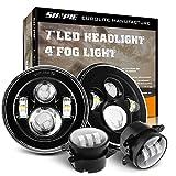 Round 7' LED Headlights + 4 ''LED Fog Lights for Jeep Wrangler JK TJ LJ 1997-2017